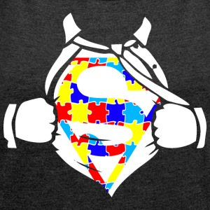 Autism Awareness Superhero - Women's Roll Cuff T-Shirt
