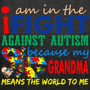 Im Fight Against Autism Grandma Means World To Me - Women´s Rolled Sleeve Boxy T-Shirt