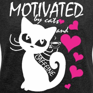 Motivated By Cats And Caffeine - Women´s Rolled Sleeve Boxy T-Shirt