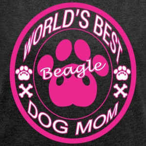 World Best Beagle Dog Mom - Women´s Rolled Sleeve Boxy T-Shirt