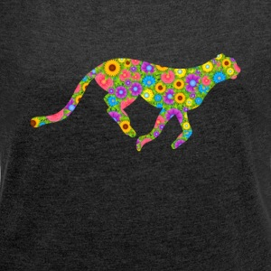Cheetah Flower Tee Shirt - Women's Roll Cuff T-Shirt