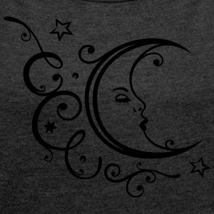 Filigree moon with stars. - Women´s Rolled Sleeve Boxy T-Shirt