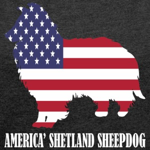 American Shetland Sheepdog Dog Flag Memorial Day - Women´s Roll Cuff T-Shirt