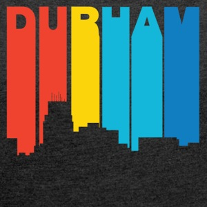 Retro 1970's Style Durham North Carolina Skyline - Women´s Rolled Sleeve Boxy T-Shirt