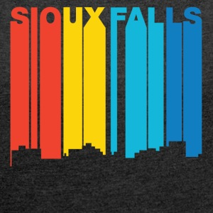 Retro 1970's Style Sioux Falls SD Skyline - Women´s Rolled Sleeve Boxy T-Shirt