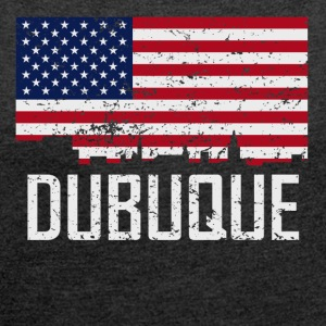 Dubuque Iowa Skyline American Flag Distressed - Women´s Roll Cuff T-Shirt