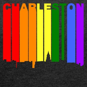 Charleston South Carolina Gay Pride Skyline - Women's Roll Cuff T-Shirt