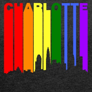 Charlotte North Carolina Gay Pride Skyline - Women's Roll Cuff T-Shirt