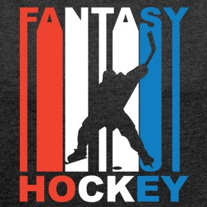 Red White And Blue Fantasy Hockey - Women´s Roll Cuff T-Shirt