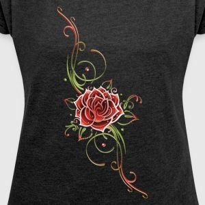 Red rose with leaves and filigree Tribal. - Women´s Roll Cuff T-Shirt