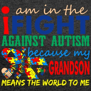 I Love My Autistic Grandson Autism Awareness - Women´s Roll Cuff T-Shirt