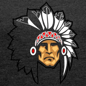 rock_face_indian_chief_black_border - Women's Roll Cuff T-Shirt