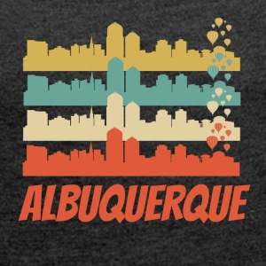 Retro Albuquerque NM Skyline Pop Art - Women's Roll Cuff T-Shirt