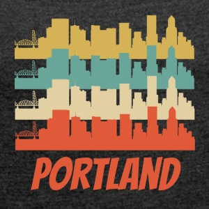 Retro Portland OR Skyline Pop Art - Women's Roll Cuff T-Shirt