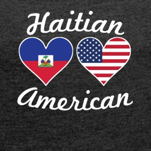 Haitian American Flag Hearts - Women´s Roll Cuff T-Shirt