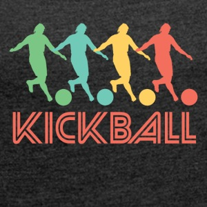 Retro Kickball Pop Art - Women's Roll Cuff T-Shirt