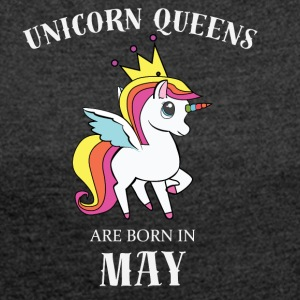 UNICORN QUEENS ARE BORN IN MAY - Women´s Rolled Sleeve Boxy T-Shirt