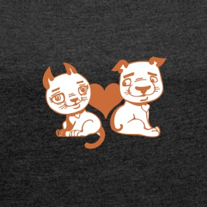 Valentine Dog and Cat with Heart - Women´s Roll Cuff T-Shirt