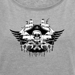 Cool pirate ship with skull - Women´s Roll Cuff T-Shirt