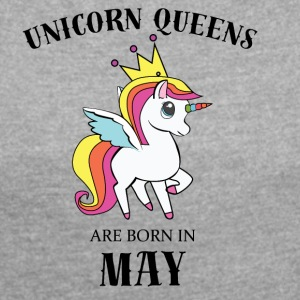 UNICORN QUEENS BORN IN MAY - Women´s Rolled Sleeve Boxy T-Shirt