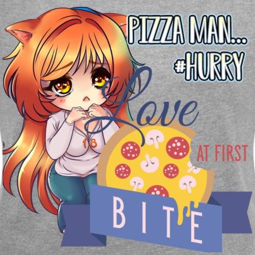 PIZZA MAN HURRY - Women's Roll Cuff T-Shirt
