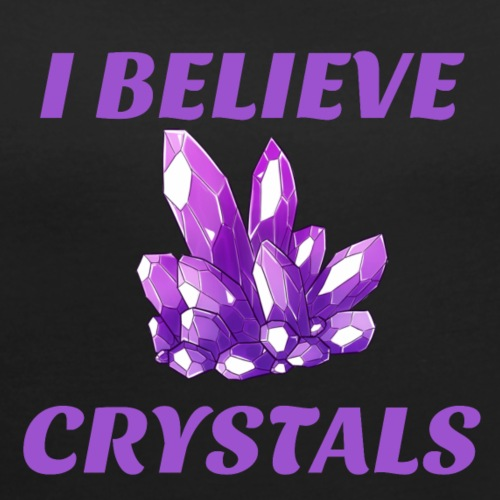 I BELIEVE IN CRYSTALS TEE - Women's Roll Cuff T-Shirt