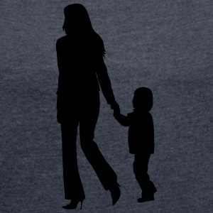 son and mother silhouettes - Women's Roll Cuff T-Shirt