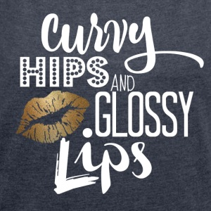 Curvy Lip White and Gold - Women´s Roll Cuff T-Shirt