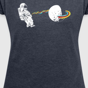 OUT OF SPACE Man Astronaut Rainbow - Women's Roll Cuff T-Shirt