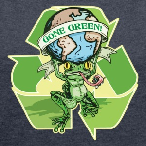 Gone Green Earth Day Frog - Women's Roll Cuff T-Shirt