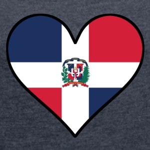Dominican Flag Heart - Women's Roll Cuff T-Shirt