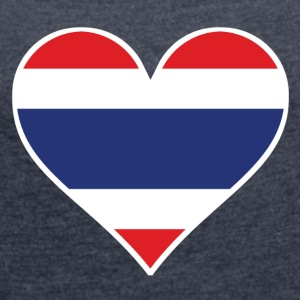 Thai Flag Heart - Women's Roll Cuff T-Shirt