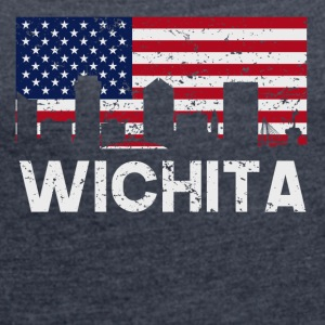 Wichita KS American Flag Skyline Distressed - Women's Roll Cuff T-Shirt