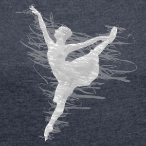 scribble dancer white and grey - Women's Roll Cuff T-Shirt