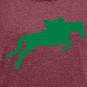 Horse games silhouette - Women's Roll Cuff T-Shirt