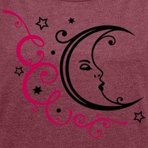 Feminine moon with ornament and stars. - Women´s Rolled Sleeve Boxy T-Shirt