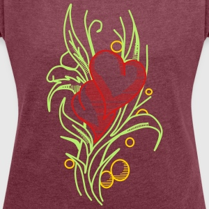 Flower with Hearts - Women's Roll Cuff T-Shirt
