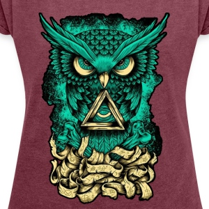 Illuminati Owl - Women´s Rolled Sleeve Boxy T-Shirt