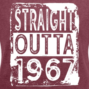 Funny 50th Birthday Gift: Straight Outta 1967 - Women´s Rolled Sleeve Boxy T-Shirt