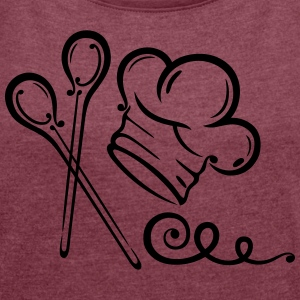Cooking hat with spoons, kitchen motif. - Women´s Rolled Sleeve Boxy T-Shirt