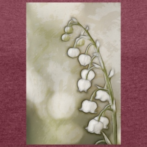 Lily of the Valley Flowers Sketch - Women's Roll Cuff T-Shirt