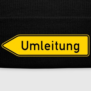 Umleitung Left - German Traffic Sign - Knit Cap with Cuff Print