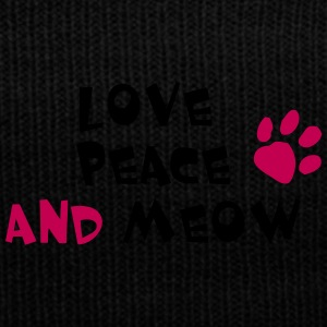 LOVE PEACE AND MEOW! - Knit Cap with Cuff Print