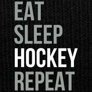 Eat Sleep Hockey Repeat - Knit Cap with Cuff Print