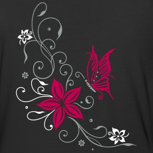 Flowers with filigree ornament and butterfly - Baseball T-Shirt