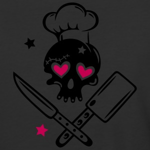 Skull girlie with cooking hat - Baseball T-Shirt