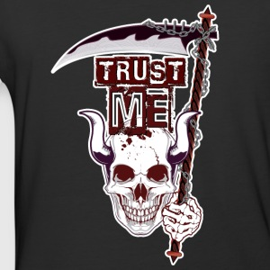 Trust Me - Funny Skull with Scythe and Chain - Baseball T-Shirt