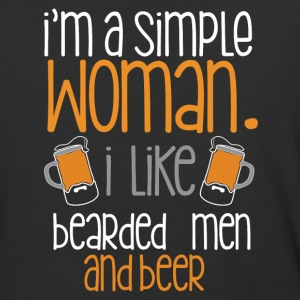 I'm a simple woman I like bearded men and beer - Baseball T-Shirt