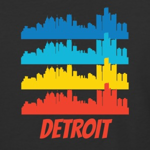 Retro Detroit MI Skyline Pop Art - Baseball T-Shirt