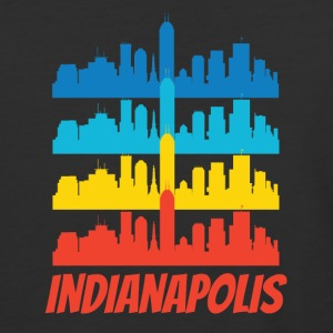 Retro Indianapolis IN Skyline Pop Art - Baseball T-Shirt